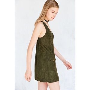 UO Cooperative Paulina Suede Button-Down Dress